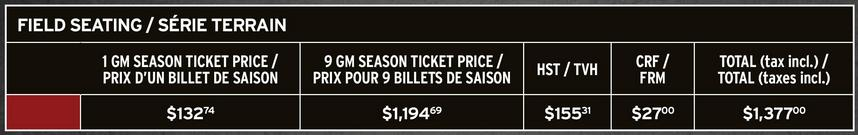 Ottawa RedBlacks Field Seating Ticket Prices