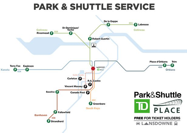 Park and Shuttle  service to TD Place map